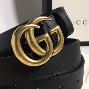 Gucci Black Thin Marmont GG 1""